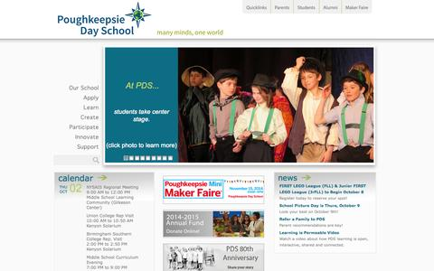 Screenshot of Home Page poughkeepsieday.org - Private Schools: Poughkeepsie New York - captured Oct. 2, 2014