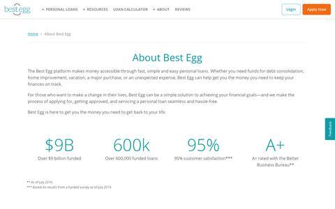 Screenshot of About Page bestegg.com - About Best Egg®   Best Egg Personal Loans   Best Egg - captured Nov. 15, 2019