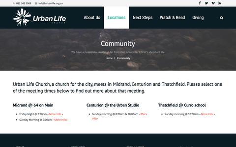 Screenshot of Locations Page urbanlife.org.za - Community - Urban Life Church - captured Nov. 3, 2017