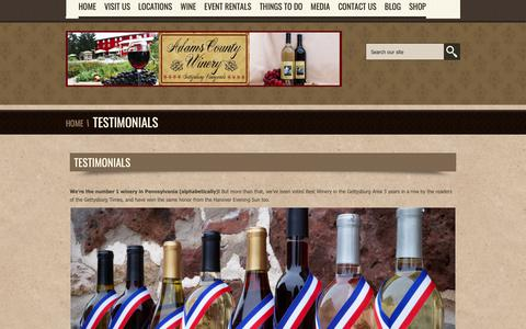 Screenshot of Testimonials Page adamscountywinery.com - Testimonials-Adams County Winery - captured Nov. 6, 2018