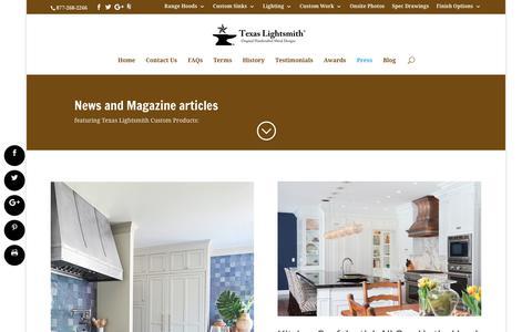 Screenshot of Press Page texaslightsmith.com - Press | Texas Lightsmith - captured Sept. 20, 2018