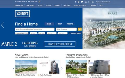 Screenshot of Home Page coldwellbanker.ae - New Development & Construction Projects Dubai   Current & Upcoming Projects - captured Oct. 22, 2015