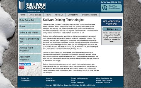 Screenshot of About Page sulli.com - Sullivan Deicing Technologies | Sullivan Corporation - captured Oct. 19, 2018