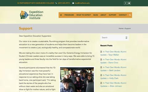 Screenshot of Support Page getonthebus.org - Support - Expedition Education Institute - captured Nov. 14, 2016