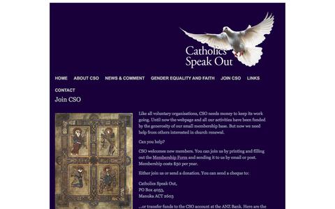 Screenshot of Signup Page catholicsspeakout.com.au - Catholics Speak Out - Join CSO - captured Feb. 26, 2018