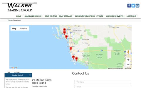 Screenshot of Locations Page walkersmarine.com - Boat Sales, Florida | Ft. Myers, Naples, Marco Island, Goodland, Myers Beach. - captured Sept. 27, 2018