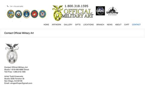 Screenshot of Contact Page official-military-art.com - Contact Official Military Art - captured Jan. 28, 2018
