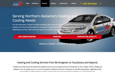 Screenshot of Services Page freedomhvacal.com - Services | Freedom Heating and Cooling - captured Nov. 25, 2016
