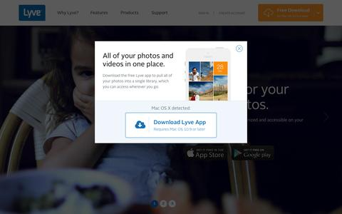 Screenshot of Home Page mylyve.com - Collect, Protect, and Rediscover Your Photos and Videos | Lyve - captured Nov. 26, 2015