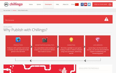 Screenshot of Developers Page chillingo.com - Chillingo | Leading games publisher on mobile. A division of Electronic Arts. | Why Publish with Chillingo? - captured Jan. 27, 2016