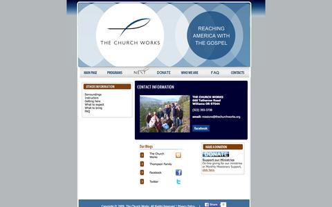 Screenshot of Contact Page thechurchworks.org - The Church Works | Reaching America with the Gospel - captured Jan. 12, 2016