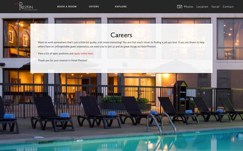 Screenshot of Jobs Page hotelpreston.com - Nashville Careers & Jobs in the Hotel Industry | Hotel Preston - captured Oct. 28, 2014