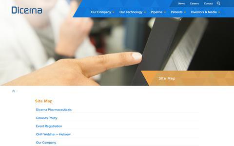 Screenshot of Site Map Page dicerna.com - Site Map - Dicerna Pharmaceuticals | Dicerna Pharmaceuticals - captured Oct. 9, 2018