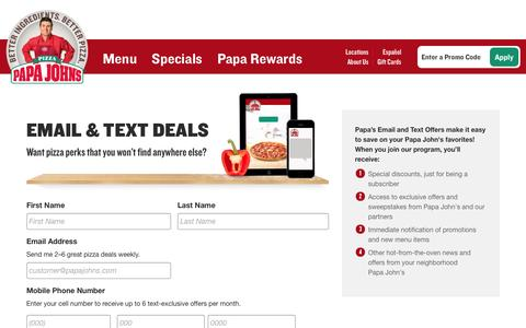 Screenshot of Signup Page papajohns.com - Promotional Offers Index | Papa John's Pizza Specials - captured Oct. 19, 2016