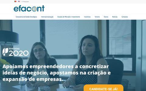 Screenshot of Home Page efacont.pt - Efacont 2 - Consultoria de gestão económico-financeira - captured July 16, 2018
