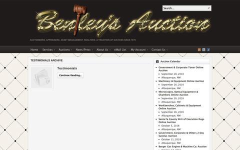 Screenshot of Testimonials Page auctionsouthwest.com - Category Archives: Testimonials - captured Oct. 5, 2018