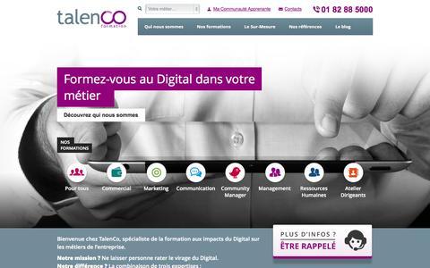 Screenshot of Home Page talenco.com - TalenCo - Organisme de formation professionnelle - captured Oct. 9, 2014