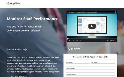 Screenshot of Landing Page appneta.com - Free SaaS App Performance - captured April 21, 2016