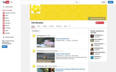 Screenshot of YouTube Page youtube.com - Villa Manakás  - YouTube - captured Nov. 3, 2014