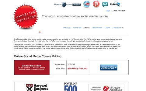 Screenshot of Pricing Page marketingcertified.com - Marketing Certified Online Social Media Course Pricing - captured Jan. 17, 2018