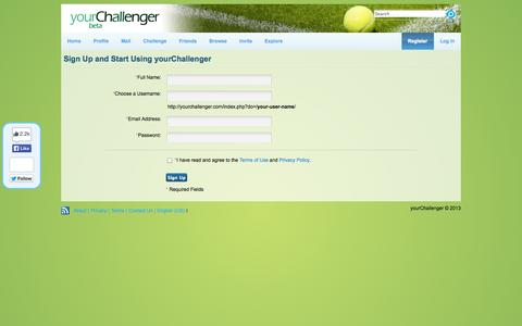 Screenshot of Signup Page yourchallenger.com - Sign Up and Start Using yourChallenger » yourChallenger - captured Oct. 7, 2014