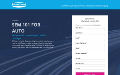 Screenshot of Landing Page purecars.com - PureCars SmartAdvertising - SEM 101 for Auto - Ebook - captured Aug. 18, 2016