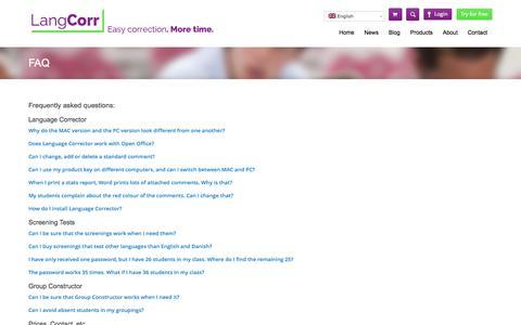 Screenshot of FAQ Page langcorr.com - FAQ | LangCorr - captured Sept. 29, 2014