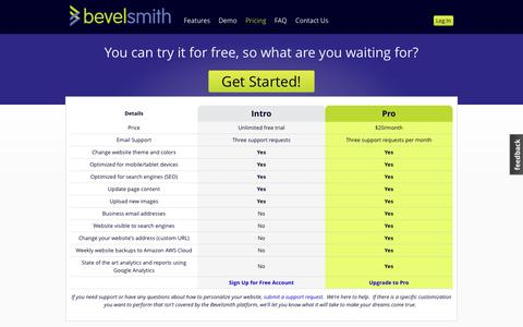 Screenshot of Pricing Page bevelsmith.com - Pricing | Bevelsmith - Get started for free! - captured Sept. 30, 2014