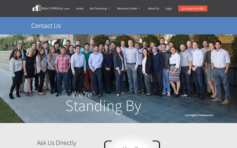 Screenshot of Contact Page realtymogul.com - Contact Us | RealtyMogul.com - captured July 4, 2016