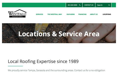 Screenshot of Locations Page westfallroofing.com - Local Roofing Expert | Locations | Westfall Roofing - captured Sept. 20, 2018