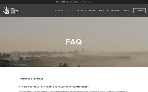 Screenshot of FAQ Page trashmountain.com - FAQ — Trash Mountain Project - captured Feb. 23, 2016