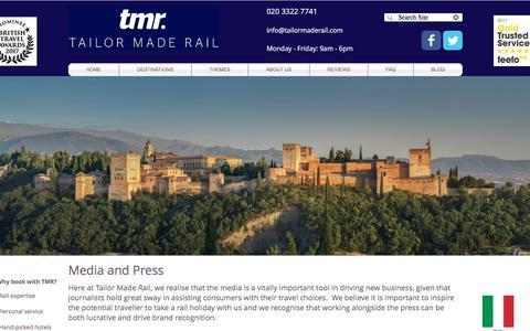 Screenshot of Press Page tailormaderail.com - Press | Tailor Made Rail - captured Nov. 14, 2017