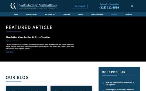 Screenshot of Blog castellanosfamilylaw.com - Divorce Blog | Family Law Attorney in Los Angeles - captured Sept. 26, 2018