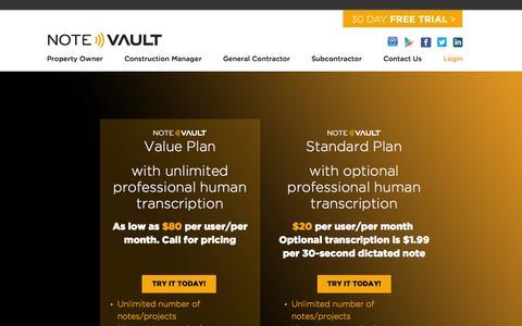 Screenshot of Pricing Page notevault.com - Pricing - NoteVault - captured Nov. 5, 2014