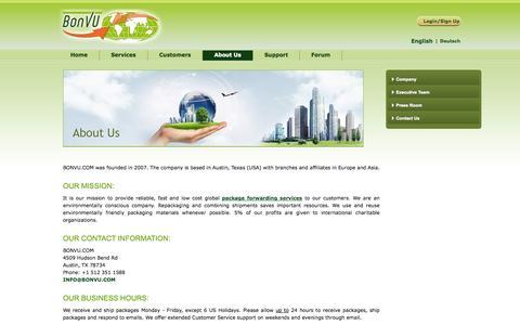 Screenshot of About Page bonvu.com - Company - captured Oct. 4, 2014
