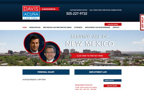 Screenshot of Home Page yournewmexicolawfirm.com - Albuquerque Lawyers | Davis Acuña Firm - Personal Injury and Employment Law - captured Sept. 12, 2015