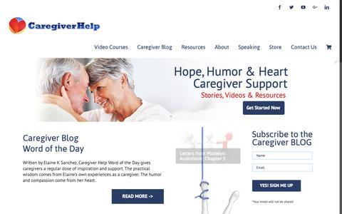 Screenshot of Home Page caregiverhelp.com - Caregiver Help - Caregiver Support - captured Dec. 7, 2018