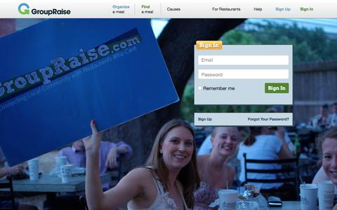 Screenshot of Login Page groupraise.com - GroupRaise : Restaurant Fundraising Made Simple. - captured Feb. 2, 2016
