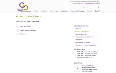 Screenshot of Maps & Directions Page Hours Page compassctr.org - Contact, Location & Hours | Compass Center | | Chapel Hill , North Carolina | Helping individuals and families build stable lives by increasing self-sufficiency and preventing domestic violence. - captured Oct. 22, 2014