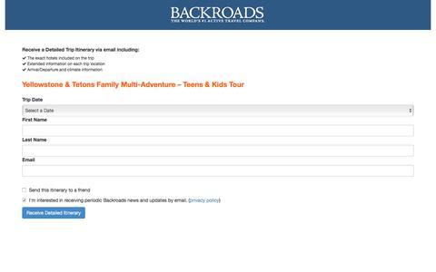 Screenshot of Landing Page backroads.com - MyBackroads - Detailed Itinerary - captured April 20, 2018