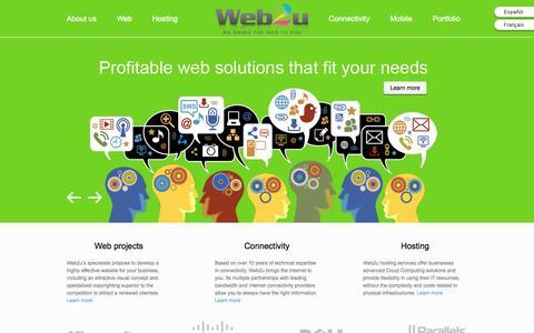 Screenshot of Home Page web2u.ca - Conception site web , agence création site web  webmaster et design site Internet Montréal Québec | Web2u - captured Sept. 30, 2014