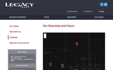 Screenshot of Locations Page legacy-bank.com - Branch & ATM Locations - captured May 16, 2017