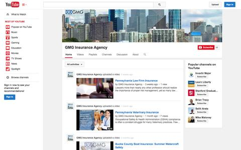 Screenshot of YouTube Page youtube.com - GMG Insurance Agency  - YouTube - captured Oct. 22, 2014