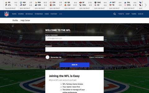 Screenshot of Login Page nfl.com - NFL.com - Official Site of the National Football League   NFL.com - captured Dec. 7, 2017