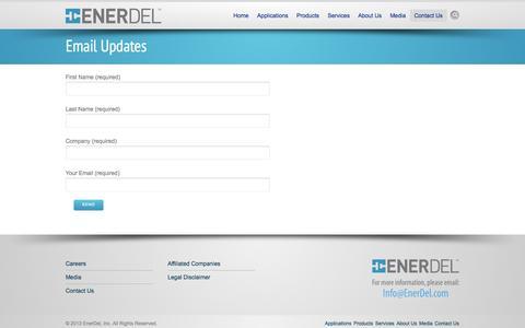 Screenshot of Signup Page enerdel.com - Email Updates - EnerDel - captured Sept. 30, 2014