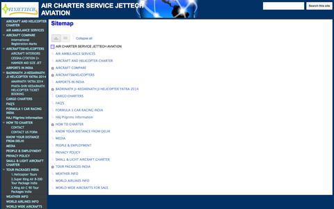 Screenshot of Site Map Page flyjettech.com - Sitemap - AIR CHARTER SERVICE                       JETTECH AVIATION - captured Oct. 6, 2014