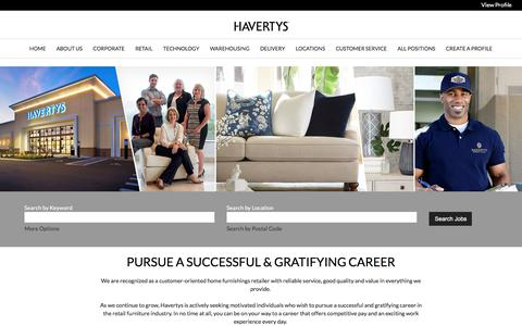 Screenshot of Jobs Page havertys.com - Careers at Havertys - captured July 16, 2019