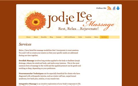 Screenshot of Services Page jodieleemassage.com - Services | - captured Sept. 30, 2014