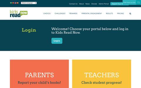 Screenshot of Login Page kidsreadnow.org - Login - Kids Read Now | K-3 Summer Reading Program - captured Nov. 6, 2018