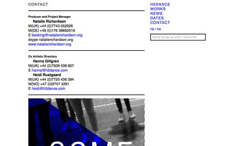 Screenshot of Contact Page h2dance.com - CONTACT : H2DANCE - captured Oct. 29, 2014
